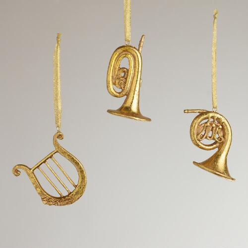 Musical Instrument Ornaments, Set of 3