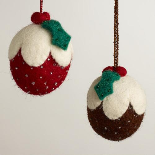 Fabric Figgy Pudding Ornaments, Set of 2