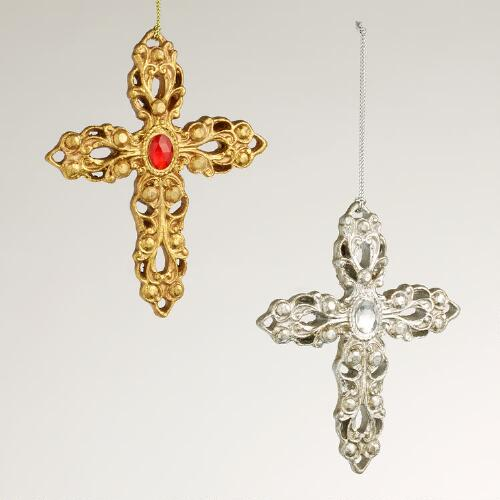 Cross with Jewel Ornaments, Set of 2