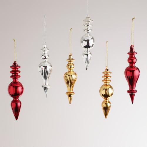 Ribbed Glass Finial Ornaments, Set of 6