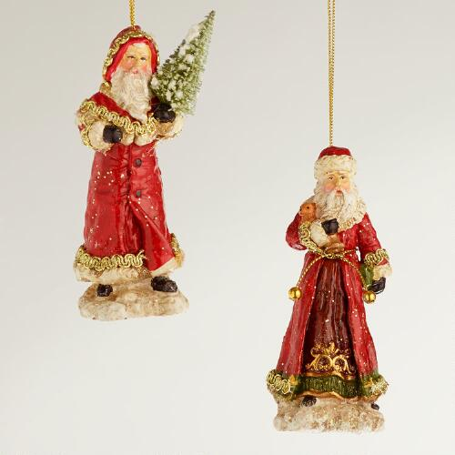 Red Paper Pulp Old World Santa Ornaments, Set of 2