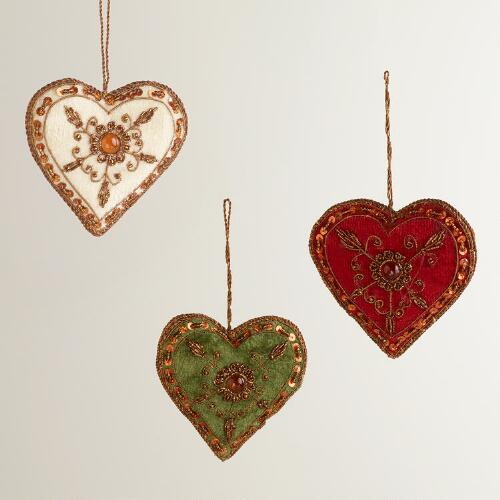 Zari Beaded Heart Ornaments, Set of 3