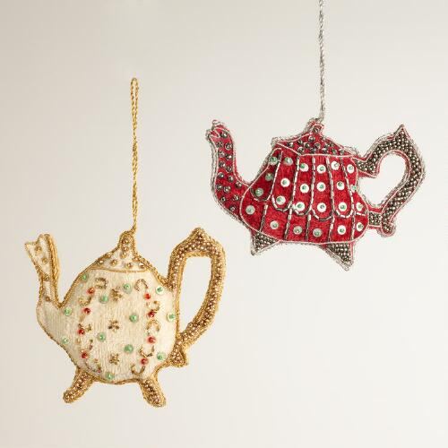 Fabric Embellished Teapot Ornaments, Set of 2