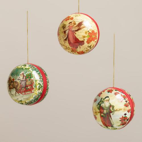 Christmas Paper Ball Ornaments, Set of 3