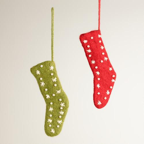 Fabric Skinny Stocking Ornaments, Set of 2