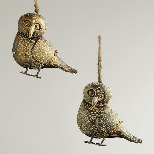 Metal Owl with Jewels Ornaments, Set of 2