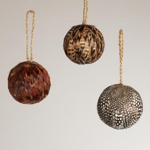 Feather Ball Ornaments, Set of 3