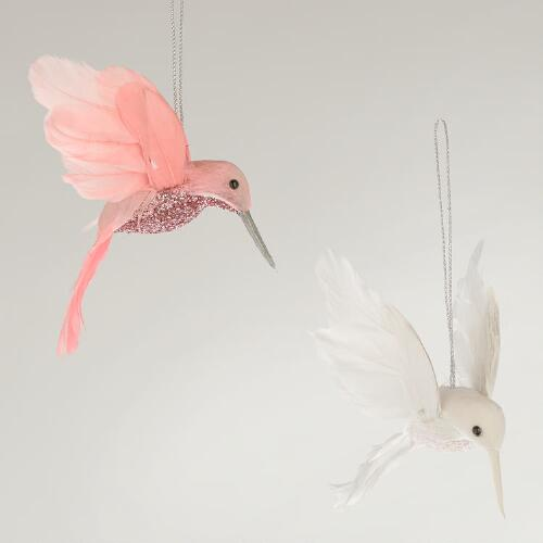 Feather Glitter Hummingbird Ornaments, Set of 2