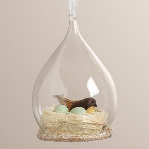 Bird in Nest Cloche Ornament