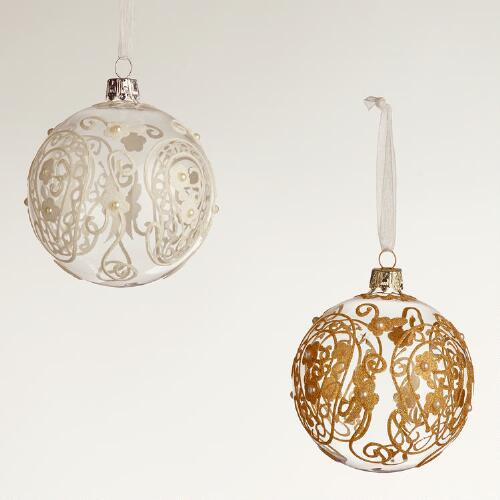 Paisley Glass Ball Ornaments, Set of 2