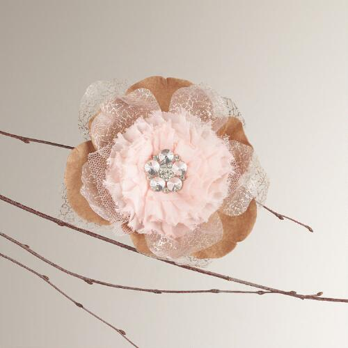 Rhinestone Fabric Flower Ornament