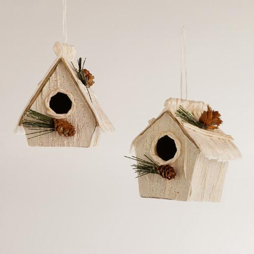 Paper Birdhouse Ornaments, Set of 2