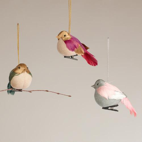 Chubby Feathered Bird Ornaments, Set of 3