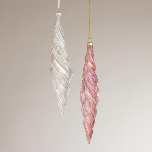 Optic Glass Icicle Ornaments, Set of 2