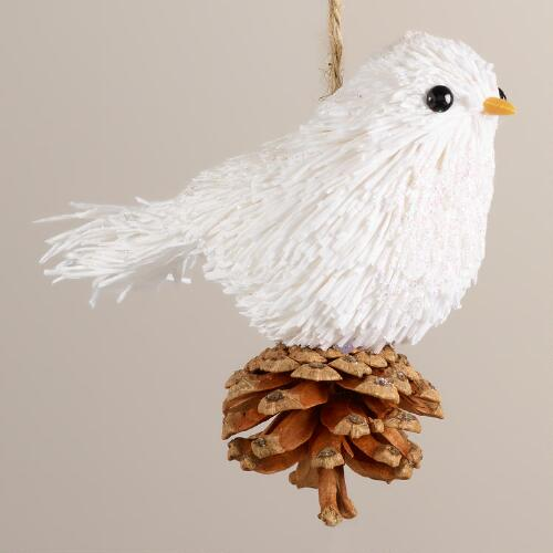 Paper Bird-on-Pinecone Ornament