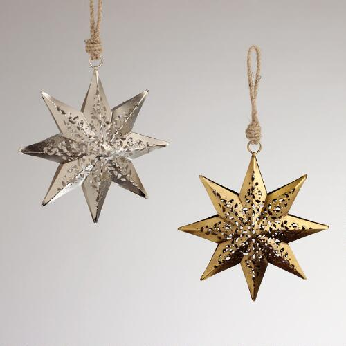 Metal Cutout Star Ornaments, Set of 2