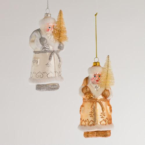 Glass Glitter Santa with Tree Ornaments, Set of 2