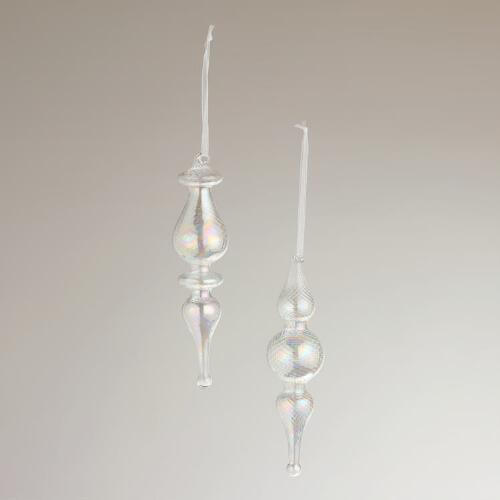 Optic Glass Finial Ornaments, Set of 2