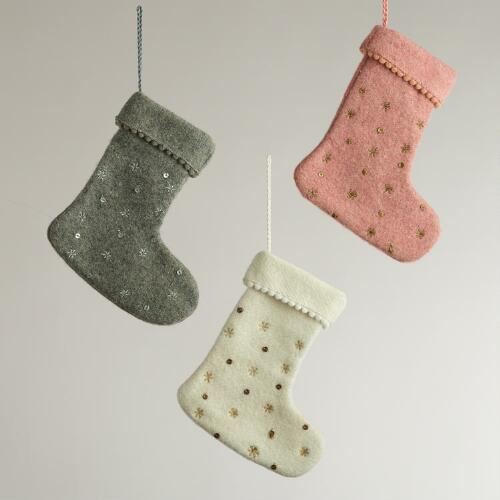 Felt Stocking Ornaments, Set of 3