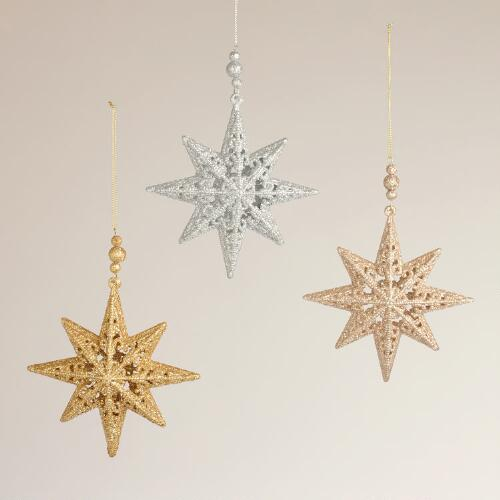 Glitter 8-Pointed Star Ornaments, Set of 3