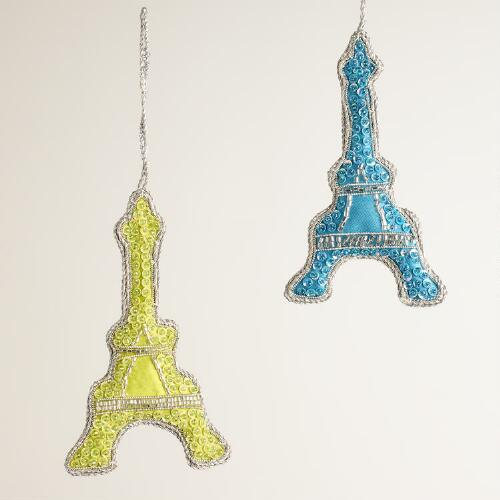 Fabric Embellished Eiffel Tower Ornaments, Set of 2