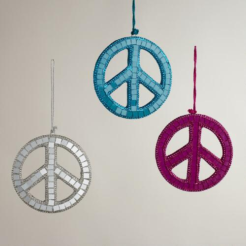 Mirrored Glass Mosaic Peace Sign Ornaments, Set of 3