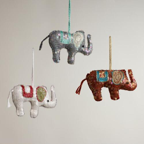 Sequined Fabric Elephant Ornaments, Set of 3