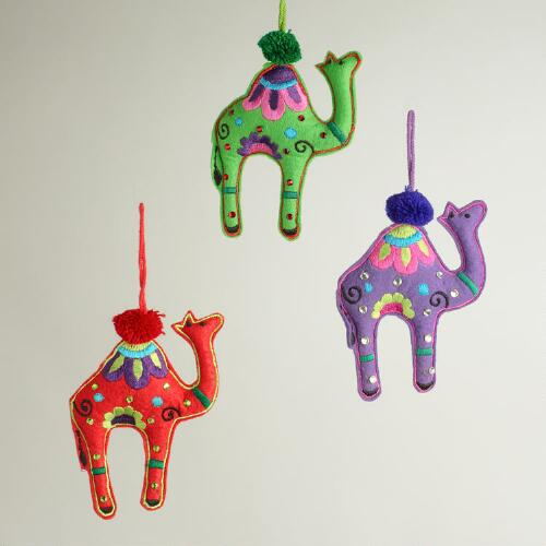 Embroidered Fabric Camel Ornaments, Set of 3