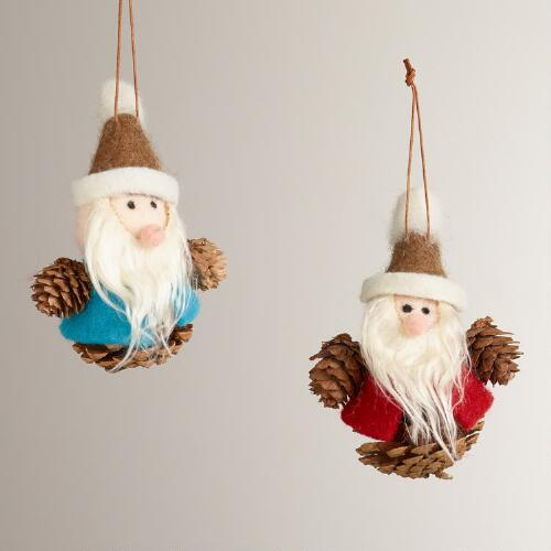 Felt Pinecone Gnome Ornaments, Set of 2