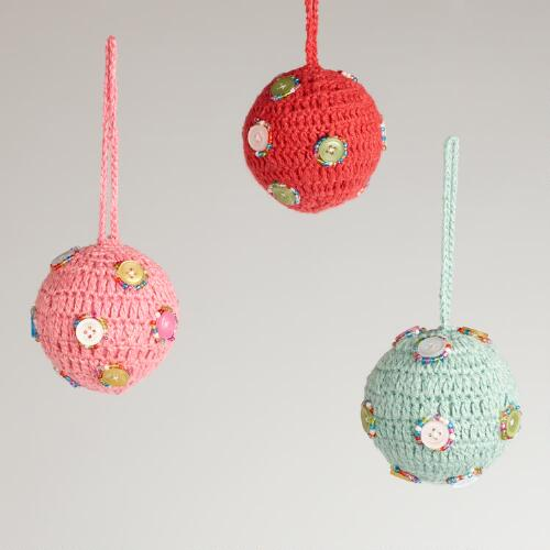 Crochet Button Ball Ornaments, Set of 3