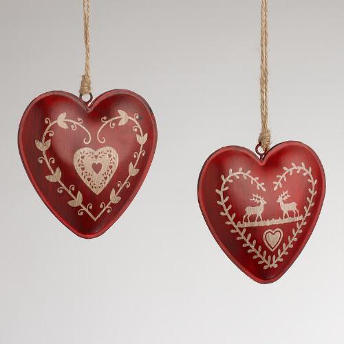 Red Metal Heart Ornaments, Set of 2