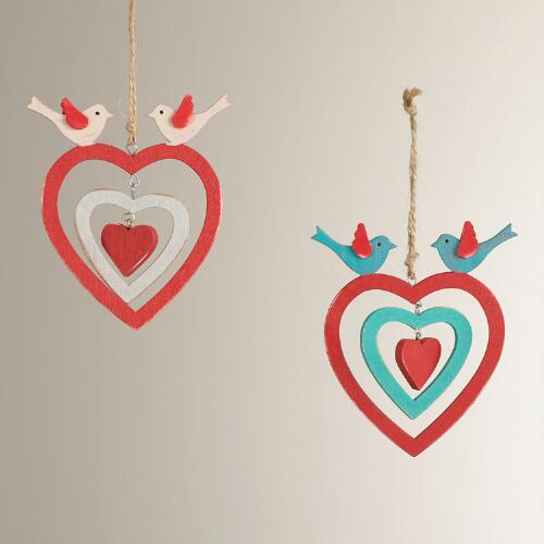 Wood Triple Heart and Bird Ornaments, Set of 2