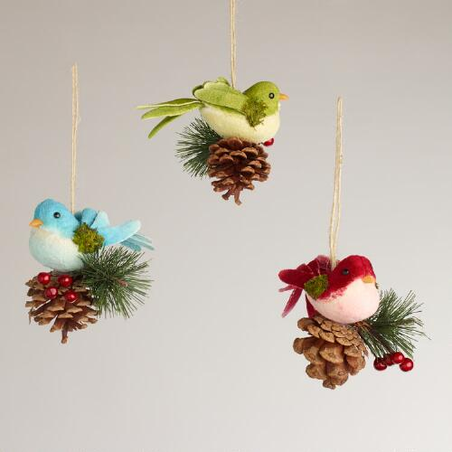 Fabric Bird on Pinecone Ornaments, Set of 3
