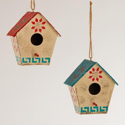 Paper Nordic Birdhouse Ornaments, Set of 2