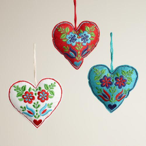 Felt Nordic Heart Ornaments, Set of 3