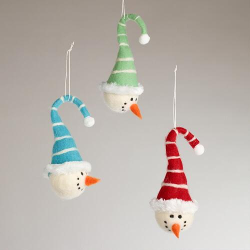 Felt Snowman with Cap Ornaments, Set of 3