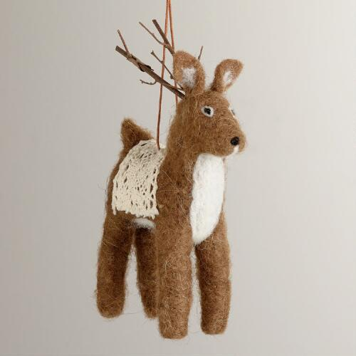 Felt Deer with Crochet Ornament