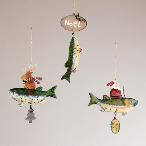 Metal Trout Ornaments, Set of 3