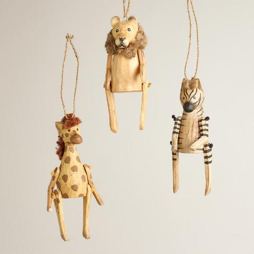 Wooden Safari Animal Ornaments, Set of 3