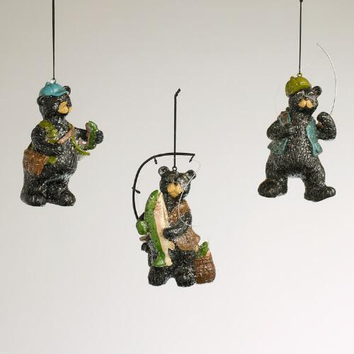 Resin Fishing Bear Ornaments, Set of 3