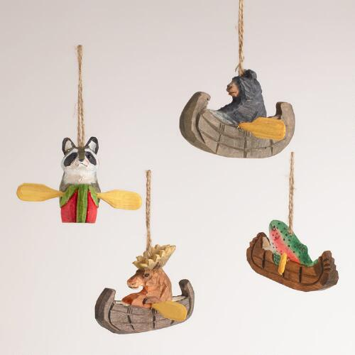 Wooden Animal on Boat Ornaments, Set of 4