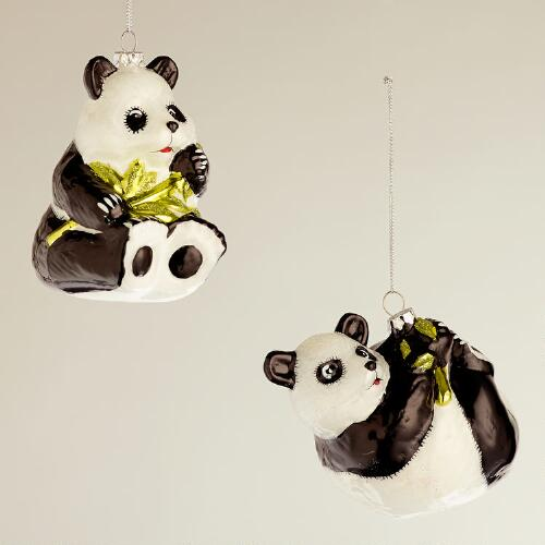Glass Panda with Bamboo Ornaments, Set of 2