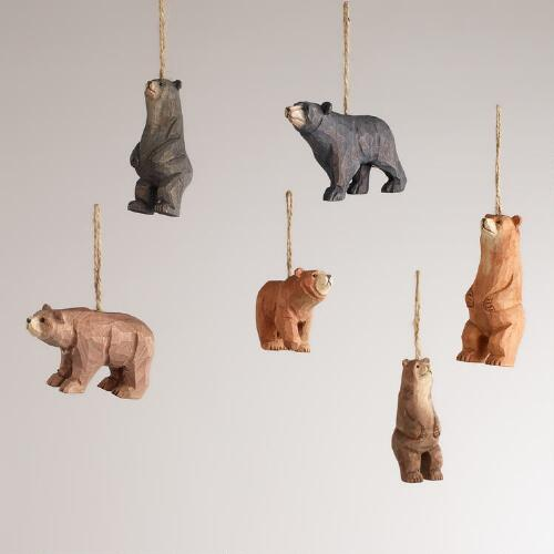 Wooden Bear Ornaments, Set of 6