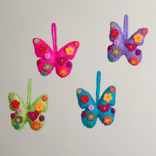 Felt Butterfly Ornaments, Set of 4