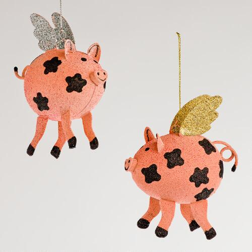 Metal Flying Pig Ornaments, Set of 2
