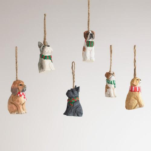 Wood Dog with Scarf Ornaments, Set of 6