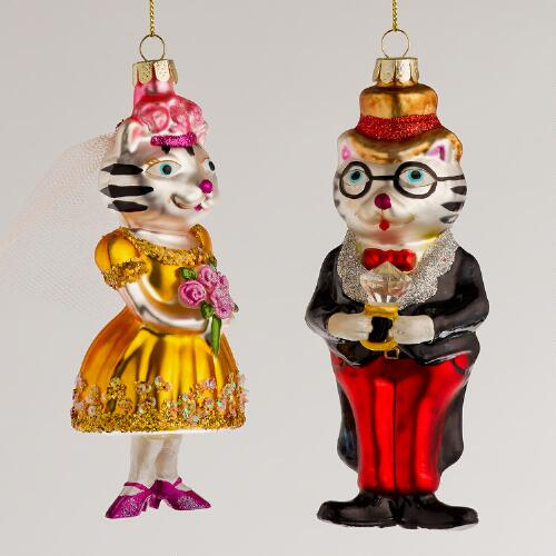 Glass Cat Newlyweds Ornaments, Set of 2