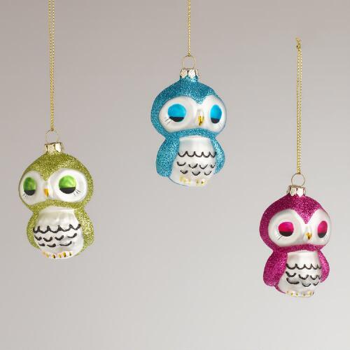 Glass Owl Ornaments,  Set of 3