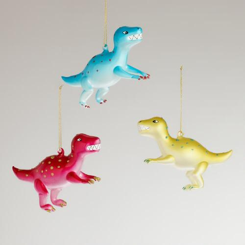 Glass Dinosaurs with Dots Ornaments, Set of 3