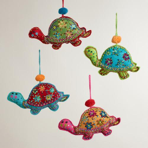 Felt Turtle Ornaments, Set of 4